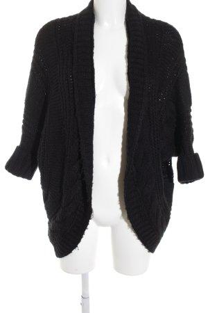 ZARAKNIT Cardigan schwarz Zopfmuster schlichter Stil