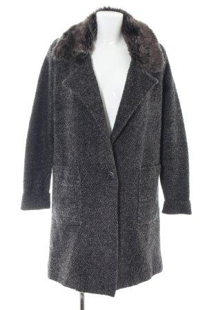 ZARAKNIT Knitted Coat black flecked casual look