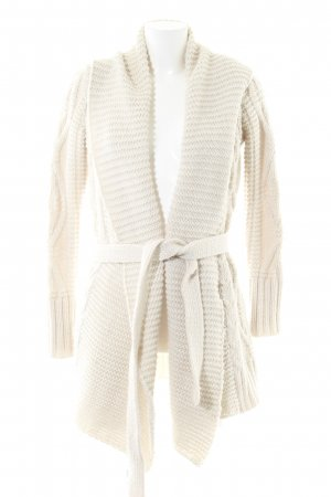 ZARAKNIT Knitted Wrap Cardigan natural white cable stitch casual look
