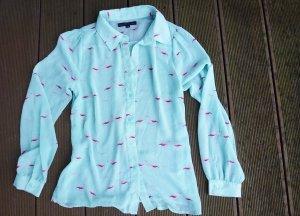 Zarte Bluse mit Flamingos Design Gr. S (34/36)