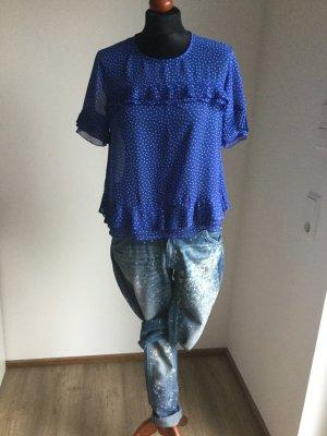Topshop Blouse à manches courtes bleu-blanc