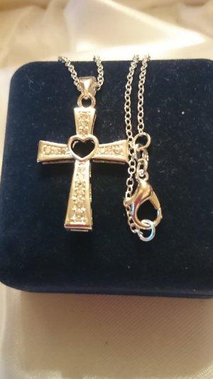 Zarte Halskette 925 mit Kreuz Anhänger. Zirkonia Steine