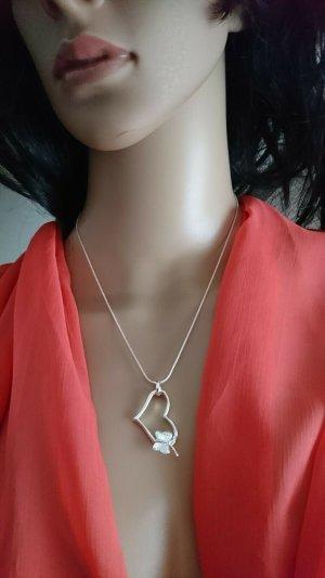 Zarte Halskette - Anhänger Herz mit Schmetterling Silber 925