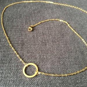 Zarte Kette mit Kreis Anhänger gold aus Edelstahl