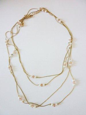 zarte Perlenkette golden mehrstrangige Halskette mit Perlen