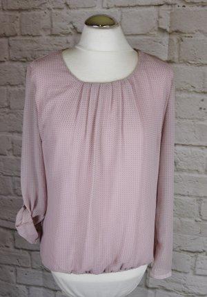 Zarte Tunika Bluse Betty Barclay Größe 36 Rose`Punkte Muster Pastell Farben Chiffon Jersey Raffung