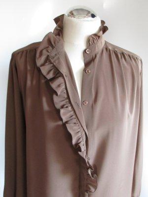 Zarte Vintage Bluse Tru blouse Größe L 42 sanftes Braun Schokobraun Dunkelbraun Stehkragen Rüschen Falten Zofe Volants Hemd