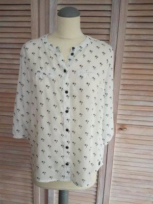 Zarte weiße Bluse mit Palmenprint