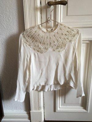 Zartes elfenhaftes Oberteil Shirt weiß Creme Perlen Stickerei leicht transparent Bluse  Tropfen Kragen 3/4 Ärmel