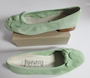 Zartes Mai Grün Jenny Ballerina Größe 7 40,5 weiches Wildleder Blumen Applikation Lindgrün Apfelgrün Hellgrün flache Pumps