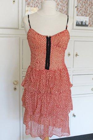 Zartes Seiden-Kleid mit roten Punkten & Volants Gr.38
