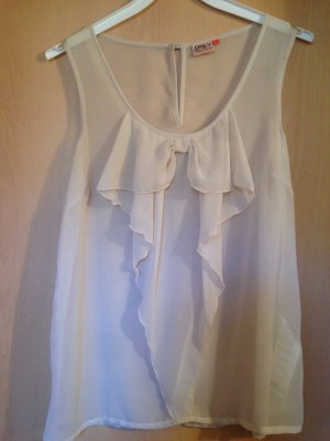 Only Top con balze bianco sporco-crema