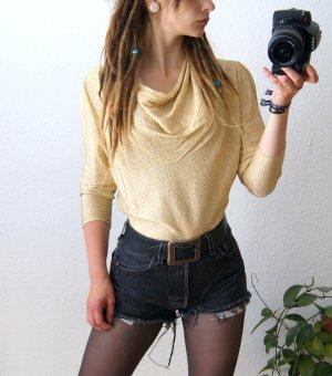 Zartes vintage Shirt gold-glitzernd, Bluse mit Wasserfallkragen, 20er preppy blogger