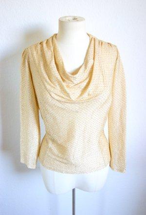 Zartes vintage Shirt Mit Wasserfallkragen, 20er Bluse gold-glitzernd