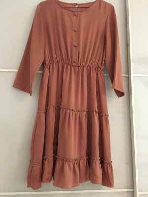 Volante jurk abrikoos Polyester