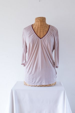 Hugo Boss V-hals shirt stoffig roze-karmijn Polyamide