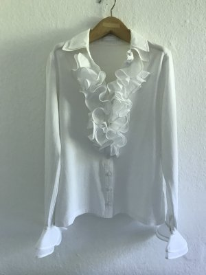 Anne Fontaine Blouse à volants blanc coton