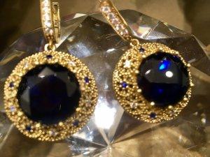 Boucles d'oreilles en argent argenté-bleu foncé argent