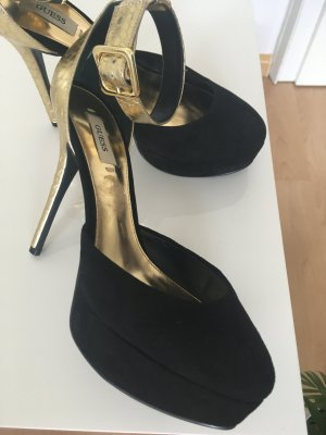 Guess Tacones altos negro-color oro Gamuza