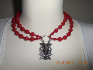 Ketting rood-zilver