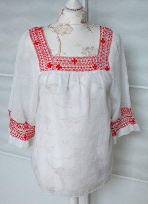 Vintage Kimono blouse wit-rood