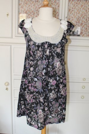 Zauberhaftes Kleid mit Perlen, Blumenprint und wunderschönen Details, Gr.M