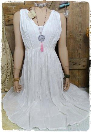Robe mi-longue blanc coton