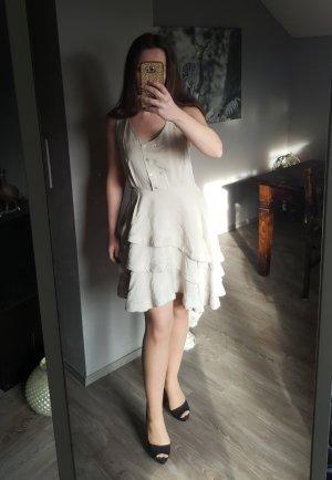 Zauberhaftes Volantkleid von H&M Gr 38 - Trendkleid Volant Kleid Creme Nude Minikleid Rüschenkleid