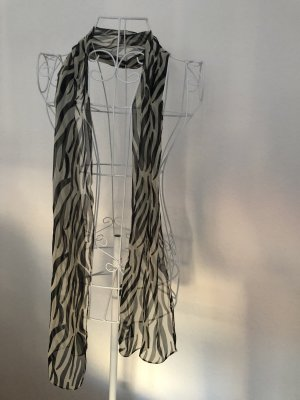 Bufanda de seda negro-blanco puro