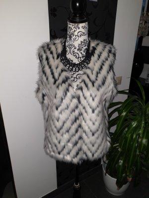 Orsay Fake Fur Vest white-black