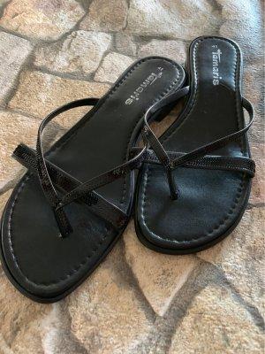 Tamaris High-Heeled Toe-Post Sandals black