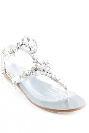 High-Heeled Toe-Post Sandals silver-colored casual look
