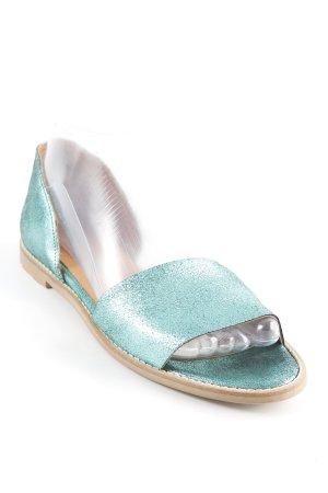 Sandalo infradito con tacco alto turchese scintillante