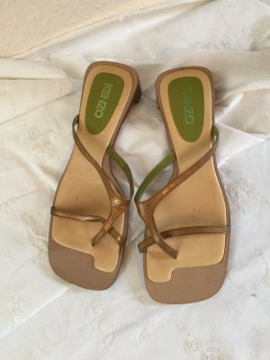 Kenzo High-Heeled Toe-Post Sandals olive green-bronze-colored leather