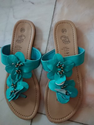 High-Heeled Toe-Post Sandals turquoise