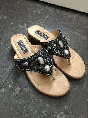 Queens Toe-Post sandals black-silver-colored