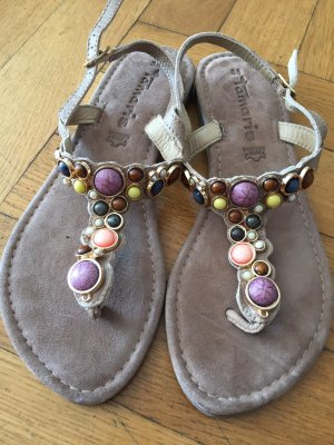 Tamaris High-Heeled Toe-Post Sandals beige