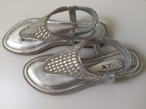 Jumex High-Heeled Toe-Post Sandals silver-colored