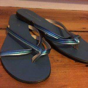 Zehensandalette, Sommerschuhe, Flip Flops Blau Türkis in 40
