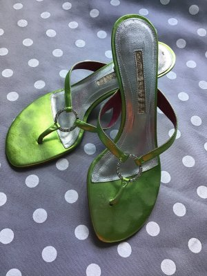 Buffalo London High-Heeled Toe-Post Sandals multicolored leather