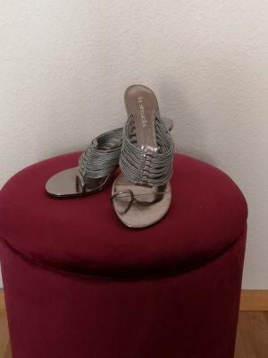 La Strada Sandalias de tacón con talón descubierto color plata-gris claro