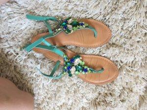 Sandalias con talón descubierto azul-turquesa