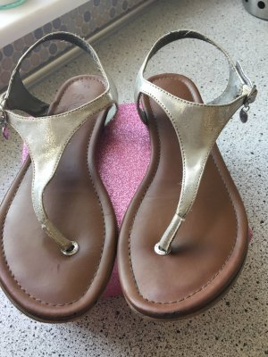 s.Oliver High-Heeled Toe-Post Sandals light brown-silver-colored