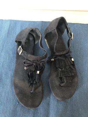 Sandalias de tacón con talón descubierto negro