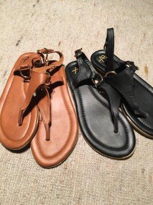 Sandalias con talón descubierto coñac-negro