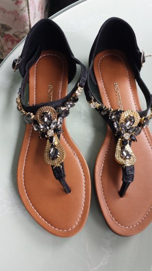 Toe-Post sandals black-gold-colored