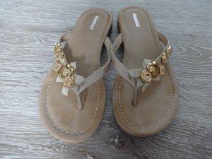 Zehentrenner Pantolette Flip Flop gold Gr. 36 - Graceland