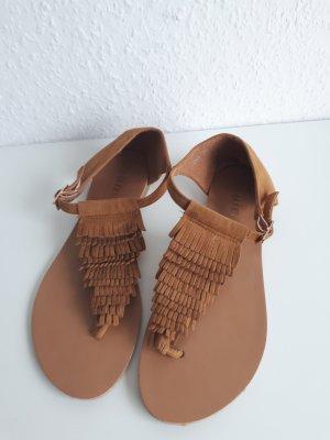 High-Heeled Toe-Post Sandals sand brown-light brown
