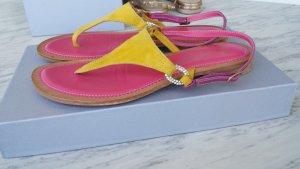 Sandalias de tacón con talón descubierto rosa-amarillo oscuro