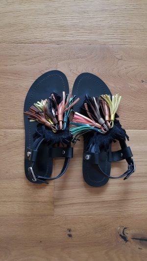 Bimba & Lola Toe-Post sandals black leather